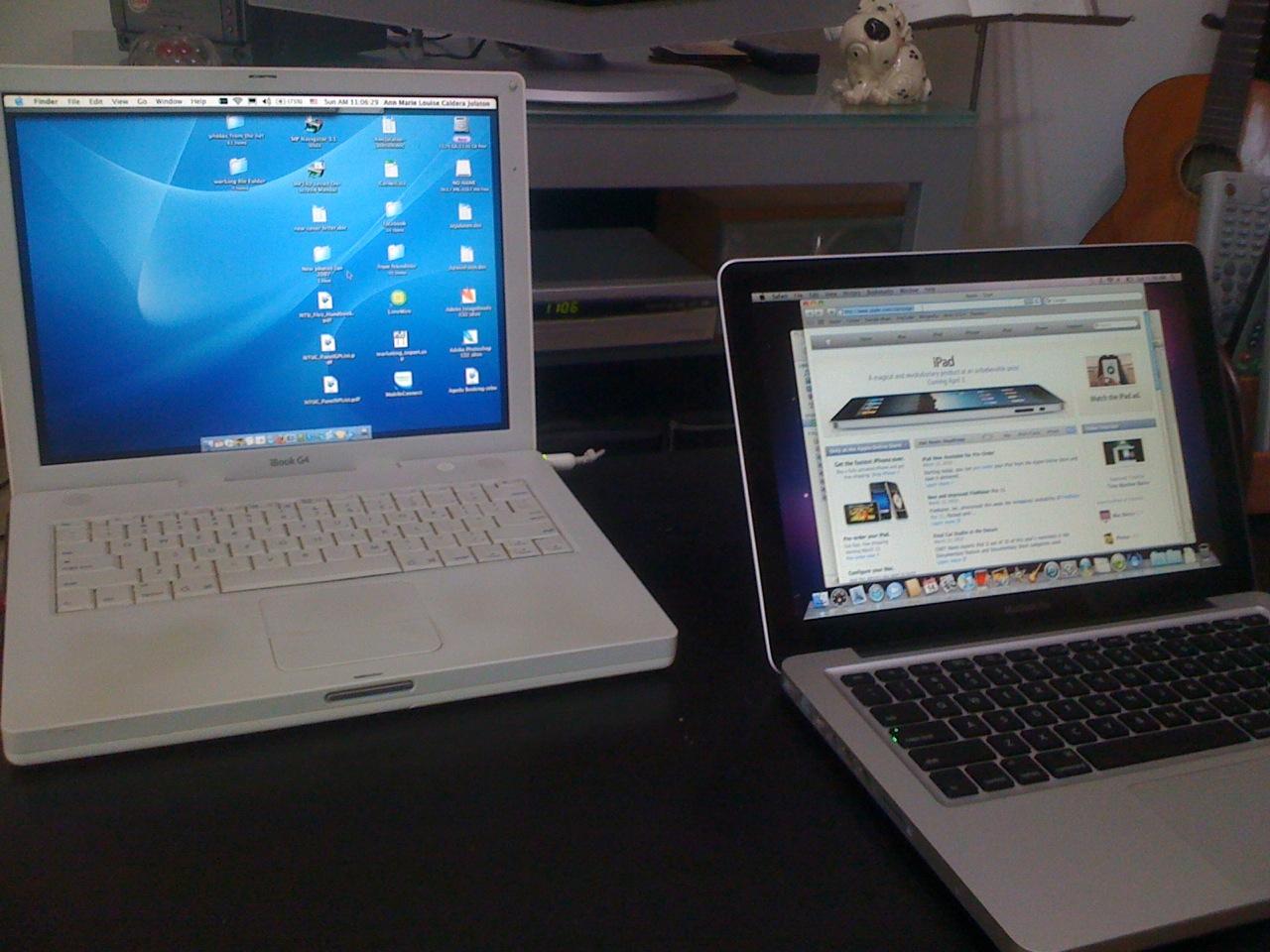 iBook G4 and MacBook Pro